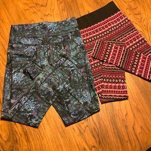 Leggings Red/Black Large. Teal Print Large